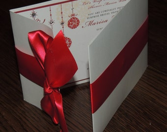 Christmas Wedding Invitation // Holiday Wedding Invitation // Red White Invitation
