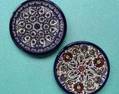 Middle Eastern Intricate Judaica Set of 2 Vintage Wall Plates, Coasters