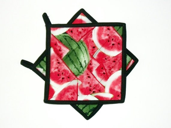 Potholders Watermelon Quilted Red Black Set of 2