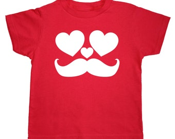 Valentine Personalized Mustache Heart Shirt for Kids - Valentine Gift Idea - Any Name - Choose your colors!