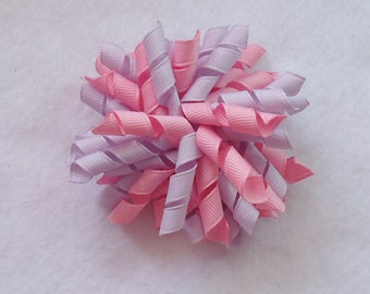 Korker Hair Bow, Pink/Purple Korker, Spring/Easter Hair Bow, Summer Hair Bow, Corker Bow Perfect for Pigtails, Spring Korker Bow, Korker Bow