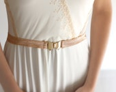Pale Bronze skinny  belt  FREE SHIPPING! brides belt, bridesmaid belt, sash, elastic belt