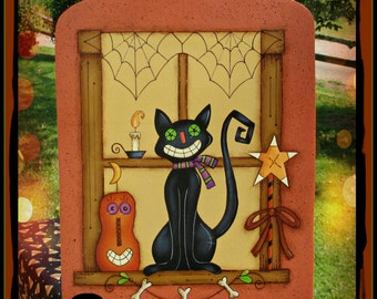 E PATTERN - Halloween Window - Grinning Cat & Pumpkin - Cute and Colorful - Design by Rhonda Bowers, Painted by Sharon Bond - FAAP
