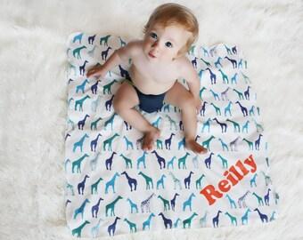 Personalized Giraffe Baby Blanket in Cobalt, Teal and Emerald -  Giraffes on Organic Interlock - Swaddle Blanket Eco Friendly