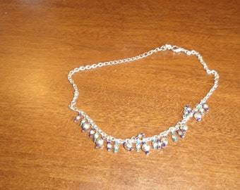 vintage necklace silvertone chain glass bead dangles