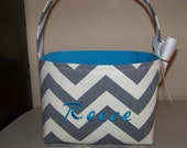 Fabric Easter Basket - Gray Chevron Zigzag Zig Zag - Great for Storage - Personalization Included - You Choose Inside Fabric/Ribbon Color
