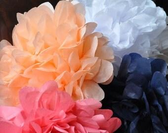12 tissue poms {Navy & Coral}