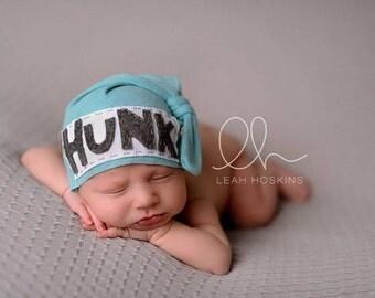 Hunk Hat, upcycle beanie, knot beanie, newborn hat, first born, newborn photo prop, custom hat, baby shower gift, baby boy hat