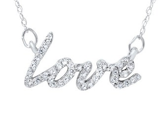 "1/5CT Love Diamond Pendant 14K White Gold With 18"" Chain"