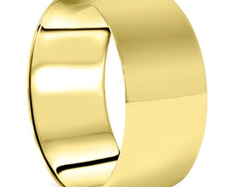 Men's 10k Yellow Gold 10mm Dome Plain Wedding Band High Polish