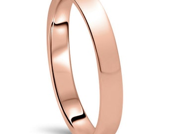 Rose Gold Wedding Band Womens 14K 3MM Dome High Polished Plain Anniversary Ring Size (4-10)