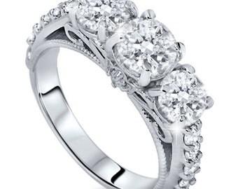 Vintage Antique Style Heirloom Diamond Engagement Ring  1.20CT Vintage Antique Style Heirloom Diamond Engagement Ring 14K White Gold Size