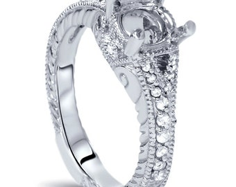 1/3CT Vintage Diamond Engagement Ring Setting Semi Mount 14K White Gold Hand Engraved Milgrain Fits 1CT Round Size 4-9