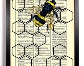 Geometric Honeycomb With Honey Bee, Home, Kitchen, Nursery, Office Decor, Wedding Gift, Eco Book Art, Vintage Dictionary Print, 8 x 10 in.
