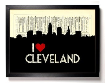 I Love Cleveland, Ohio, City Skyline, Home, Kitchen, Nursery, Office Decor, Wedding Gift, Eco Friendly Book Art, Dictionary Print 8 x 10 in.
