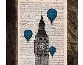 Vintage Book Print - London Big Ben Tower Blue Balloon Ride Print on Vintage Book art TVH016