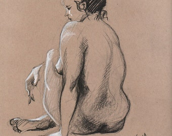 Nude sitting back - Original Charcoal Pencil Drawing from Life Model