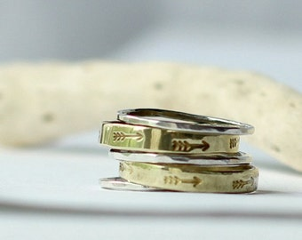 Arrow Stacking Ring Set- Set of 5 14k Gold and Sterling Silver Rings