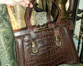 Faux Alligator Hand Bag