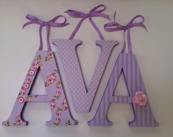 Wooden  letters for nursery spelling out your child's name coordinate with Pottery Barn Kids Savannah bedding  letters