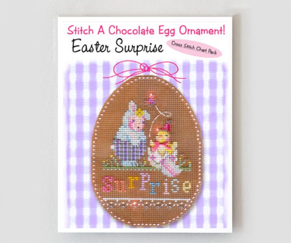 Reserved for Laurel - counted cross stitch kit : Easter Surprise Brooke's Books chocolate egg ornament perforated paper embroidery