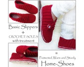 2in1-Pattern PACK for Red Rib Wrap basic Slippers + CROCHET-Soles+ - Instant Download
