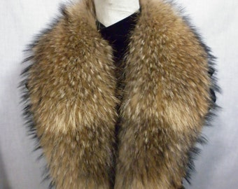 Real Genuine Finn Raccoon  detachable Finnish Fur Collar new made in usa