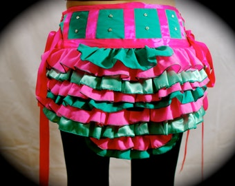 The Bubble Gum Princess Pink and Teal Seafoam Green Ruffle Bustle Skirt