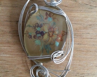 Hand Crafted Glass Hand Painted Flower Pendant