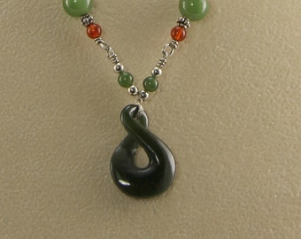 Jade and Carnelian Necklace on Sterling Silver wire