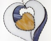 Stained Glass Suncatcher - Four Hearts in One, Valentine Heart, Valentine's Day Gift