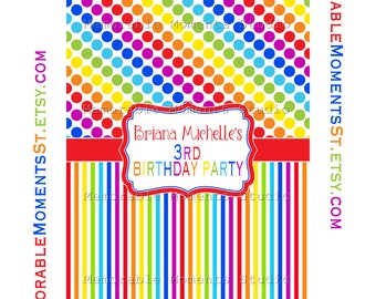 PRINTABLE Rainbow Full Size Candy Bar Wrapper - 5.5 x 7 inches - Birthday Party Favor - Memorable Moments Studio