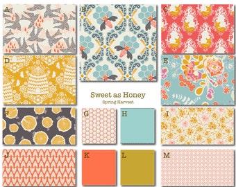 Crib Bedding- Design Your Own Crib Set- Sweet as Honey-Spring- aqua, coral, yellow
