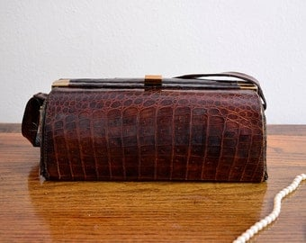 Vintage 50s Brown Croc Skin Purse