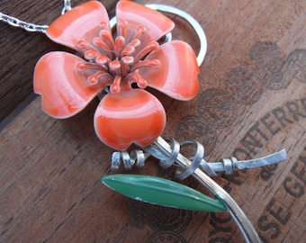 Orange flower and sculpted wire pendant statement necklace