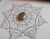 HARMONY - hematite and quartz reiki charged crystal grid - framed art