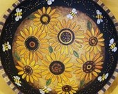 Summer Time Folk Art Sunflowers and Bees Bowl- MADE TO ORDER - Original Hand Painted Wooden Bowl Primitive Whimsical Style Functional Art