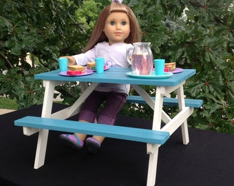 American Girl Doll: picnic table for 18 in or American Girl Doll.
