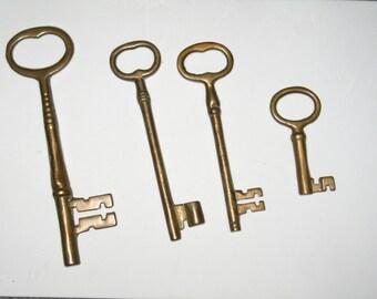 Set of Four Heavy Vintage Decorative Keys