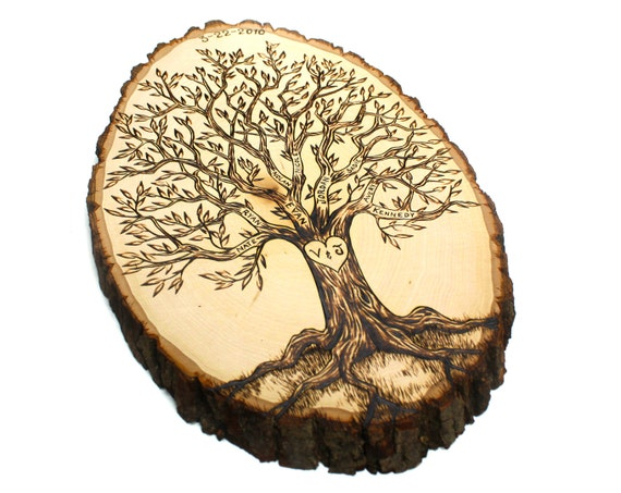Wood Burning Tree Designs Personalized family tree wood