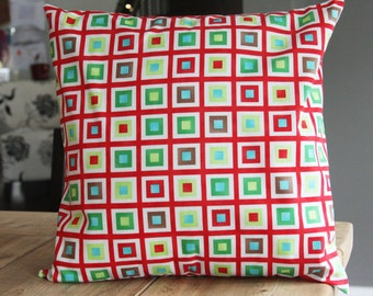 Christmas Throw Pillow - Modern Holiday Squares with Squares - Made and ready to ship