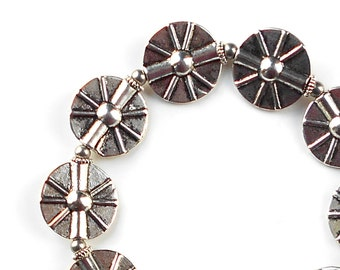Stretch Bracelet of Modern Pewter Beads in Spoke Pattern with Stainless Steel