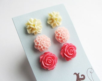 Set of 3 pairs of posts - cream white, pale pink, hot pink - floral earrings set