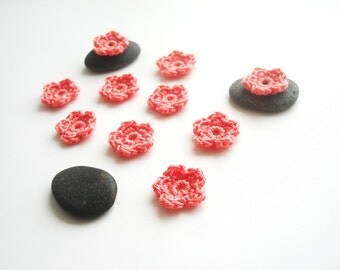 Crochet Flower Appliques, Tiny Small Cute Flowers, Decorative Motifs, Dreamy Salmon Pink, Set of 50, Set of 100, Set of 150, set of 200