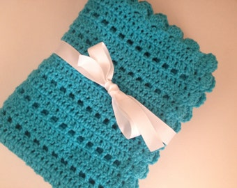 Crochet baby blanket turquoise blue blanket photo prop ready to ship