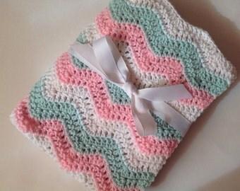 Baby blanket crochet light pink mint green white ripple chevron blanket