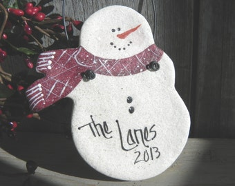 Personalized Snowman Salt Dough Christmas Ornament / Neighbor Teacher Mailman Gift
