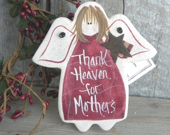 Mother's Day Gift Salt Dough Angel Mom Ornament