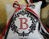 Ring Pillow, Pillow, Red Black, Wedding Ring Bearer Pillow, Embroidery, Damask, Monogram, Swarovski Crystals, Custom Made to your colors