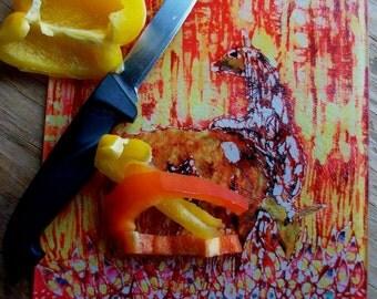 Cutting Board   - LLamas in Afternoon Light -  from original batik by Carol